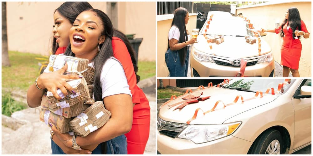 Laura Ikeji gets brand new car and huge bundles of cash as birthday gift from friend