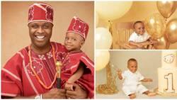 Doting dad Femi Adebayo gushes over son Fadhil as he marks 1st birthday, shares adorable photos