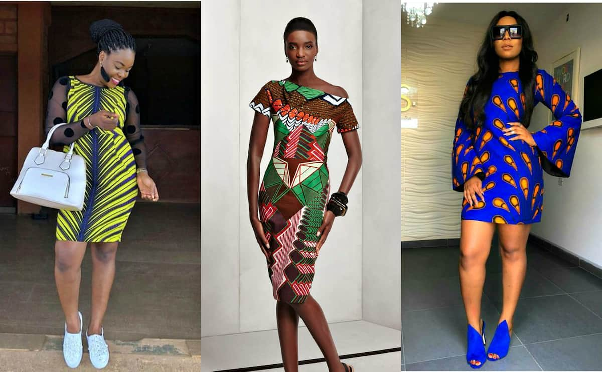 Short tight fitting Ankara dresses