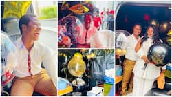 Nigerian lady spoils husband on birthday, gives him vehicle filled with gifts, man couldn't close his mouth