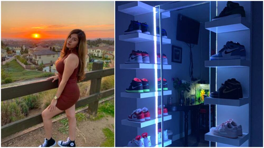Pretty Lady Shows off her Beautiful Collection of Sneakers, She Has Many Air Jordans