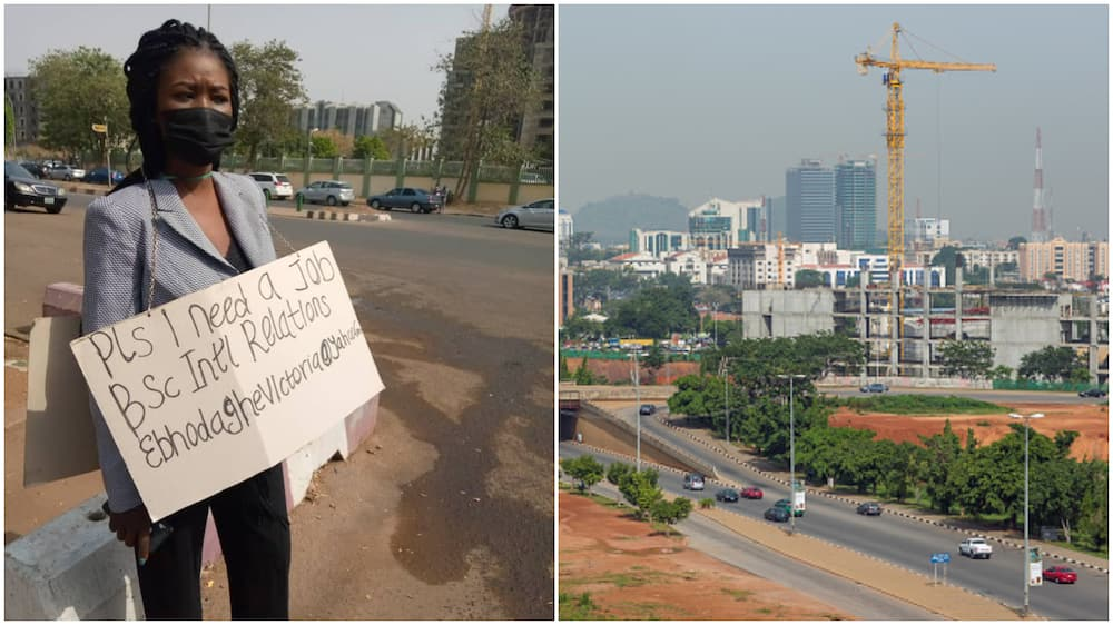 Frustrated Nigerian lady hit Abuja street with cardboard to beg for job, stirs reactions