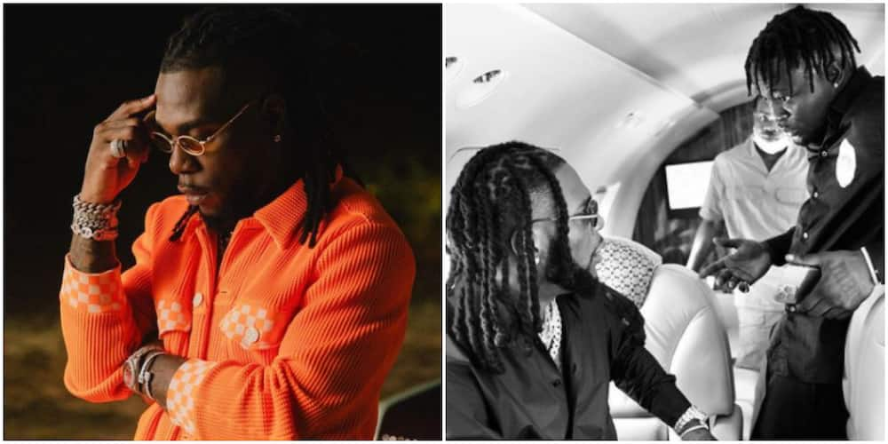 Davido did it first: Reactions as Burna Boy buys right-hand man expensive diamond chain as reward for loyalty