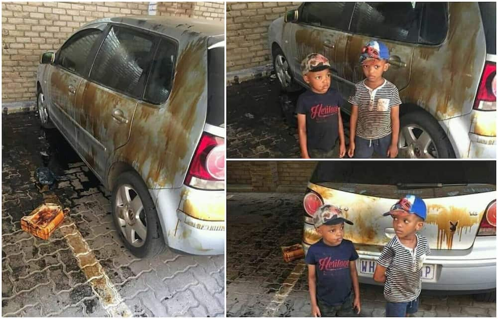 2 kids empty keg of oil over parent's car, generate reactions on Twitter