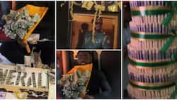 Pere's fans finally show up as they surprise him with huge money cake, bouquet of dollars, and other gifts