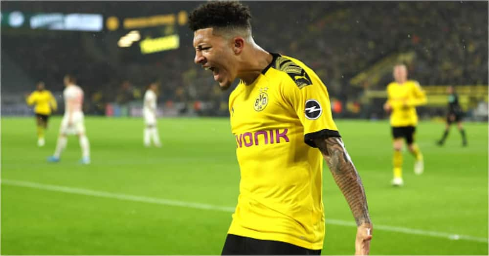 Jadon Sancho celebrates after scoring for Dortmund. Photo: Getty Images.