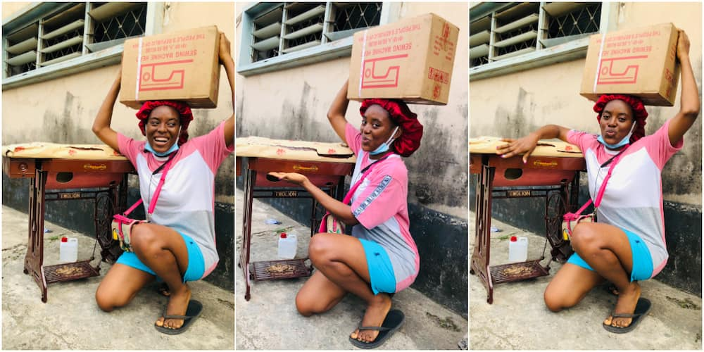 Nigerian lady excited after acquiring sewing machine, calls it new whip