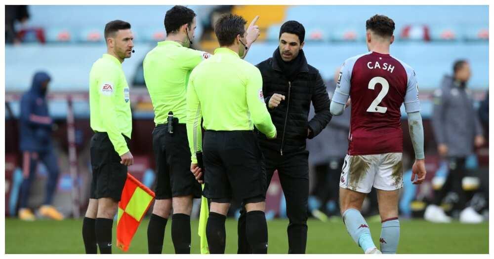 Mikel Arteta furious at match officials after Arsenal defeat to Aston Villa