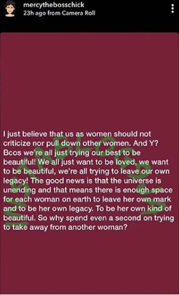 Why women should not criticize each other - Mercy Eke