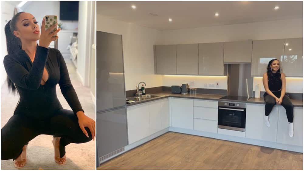 Young lady buys new house for herself, viral photo shows inside the ultra modern kitchen