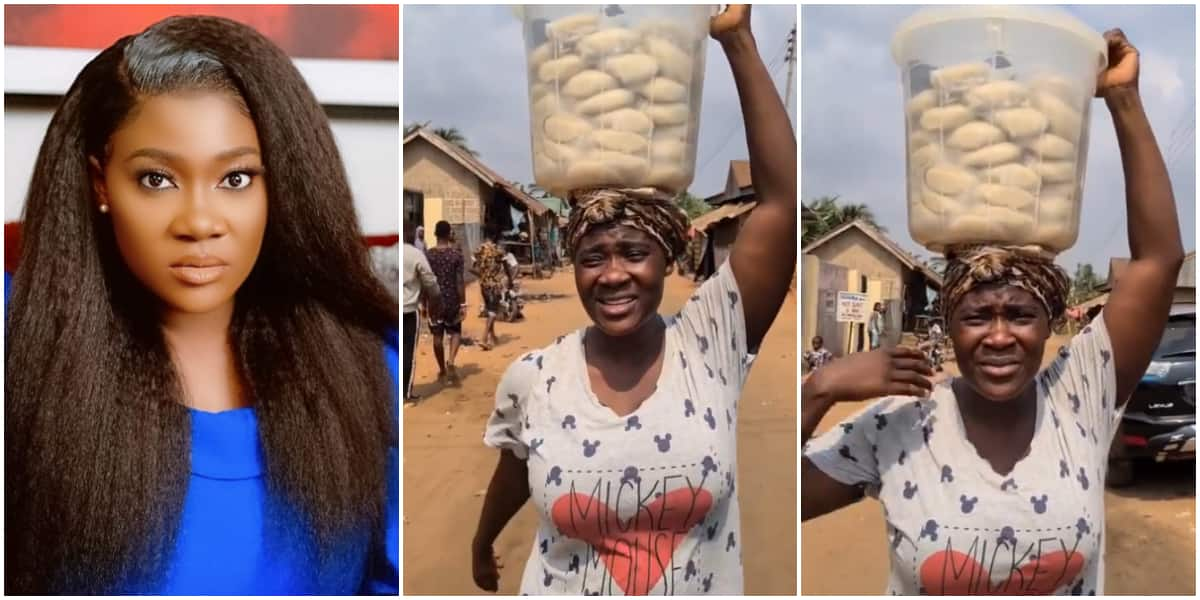 Mercy Johnson hawks bowl of fufu on movie set, prays for hardworking mums