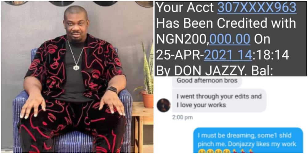 Nigerians React as Man Shares Photoshopped Screenshot of N200k Credit Alert From Don Jazzy