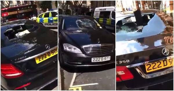 Man destroys many cars at Nigeria's embassy in London over delays with his passport (video)