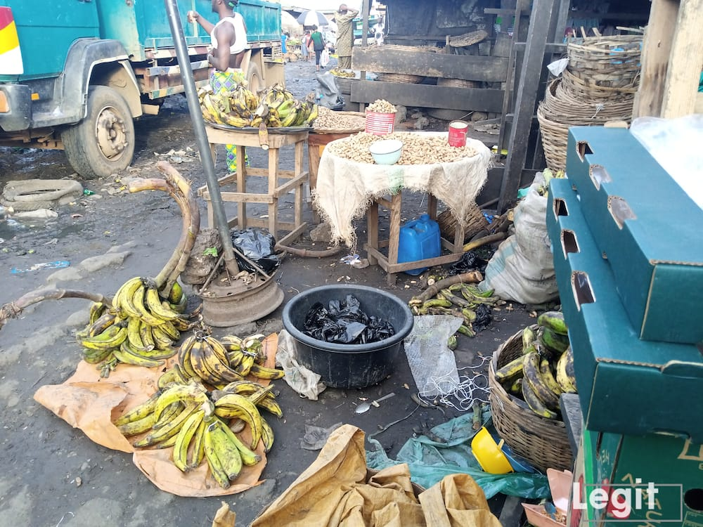 At the market, groundnut is expensive as informed by sellers while plantain is very affordable. Photo credit: Esther Odili