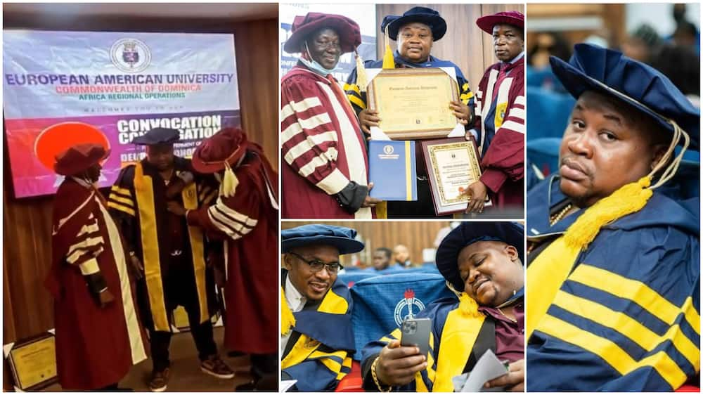 Photos, video from Cubana's convocation ceremony as he bags degree in luxury management, Davido reacts