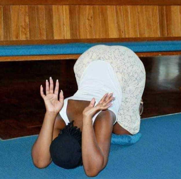 Curvy lady shares photos of how she spent her day in the church