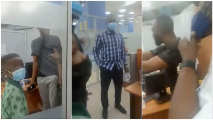 Nigerian man storms bank after 'wrong' N300k deduction, pulls off cloth, says he isn't leaving premises