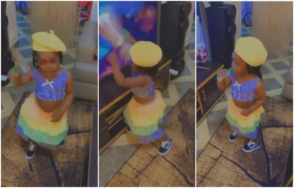 Little girl dances to Bella Shurmda's Cash App, does the hand movement
