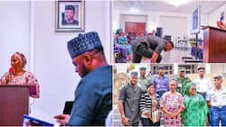 Photo of actor Odunlade Adekola prostrating for VP Yemi Osinbajo's wife after meeting her in Aso Rock
