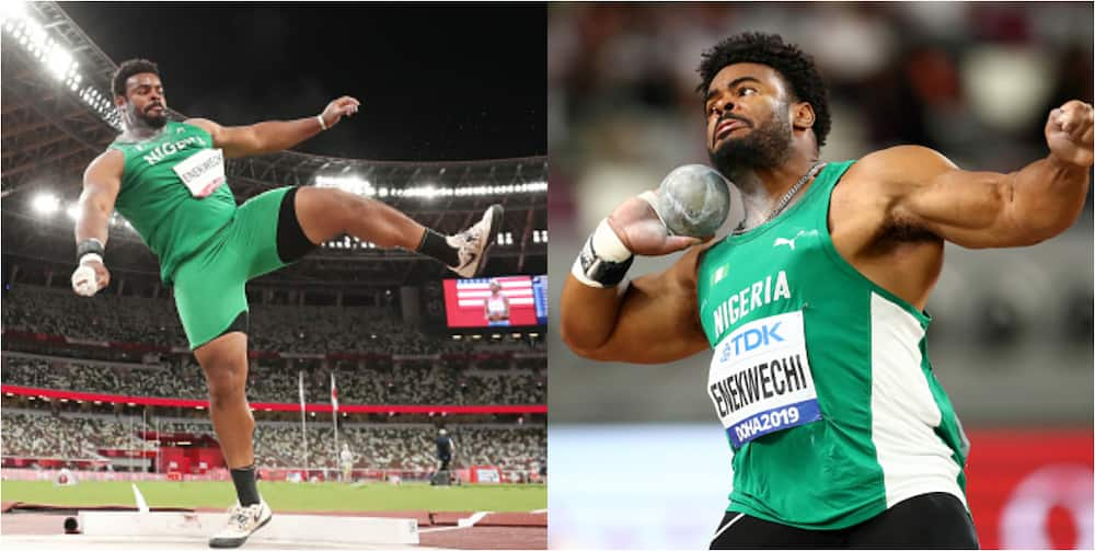 Nigerian athlete who was spotting washing his jersey fails to win medal in field event