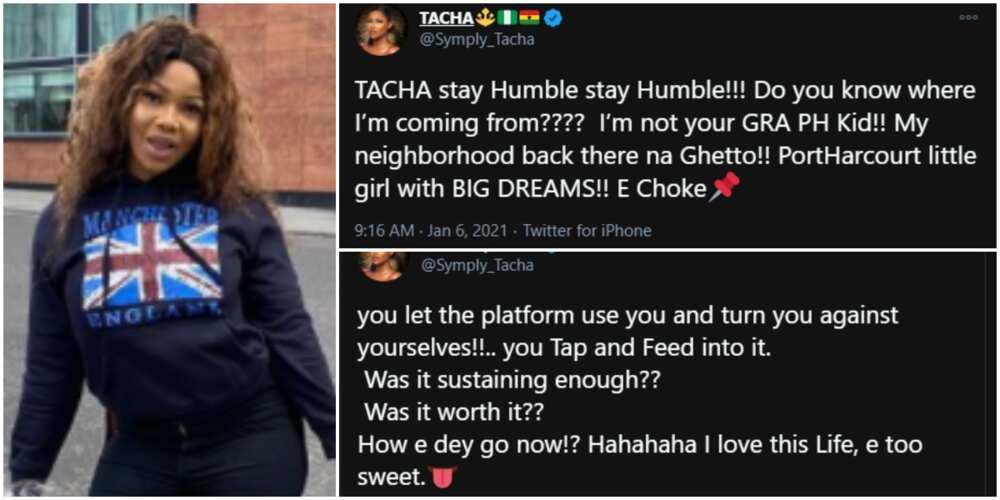 BBNaija's Tacha says other housemates allowed the platform to use them