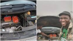 Nigerian man uses car engine as microwave to warm his food, shares photos