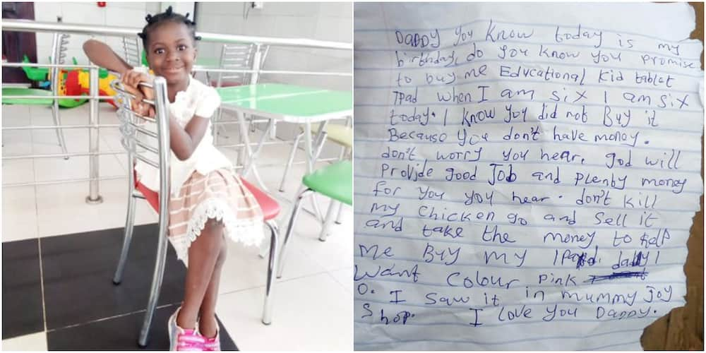 6-year-old girl warms hearts online after writing emotional letter to dad who promised her iPad on her birthday