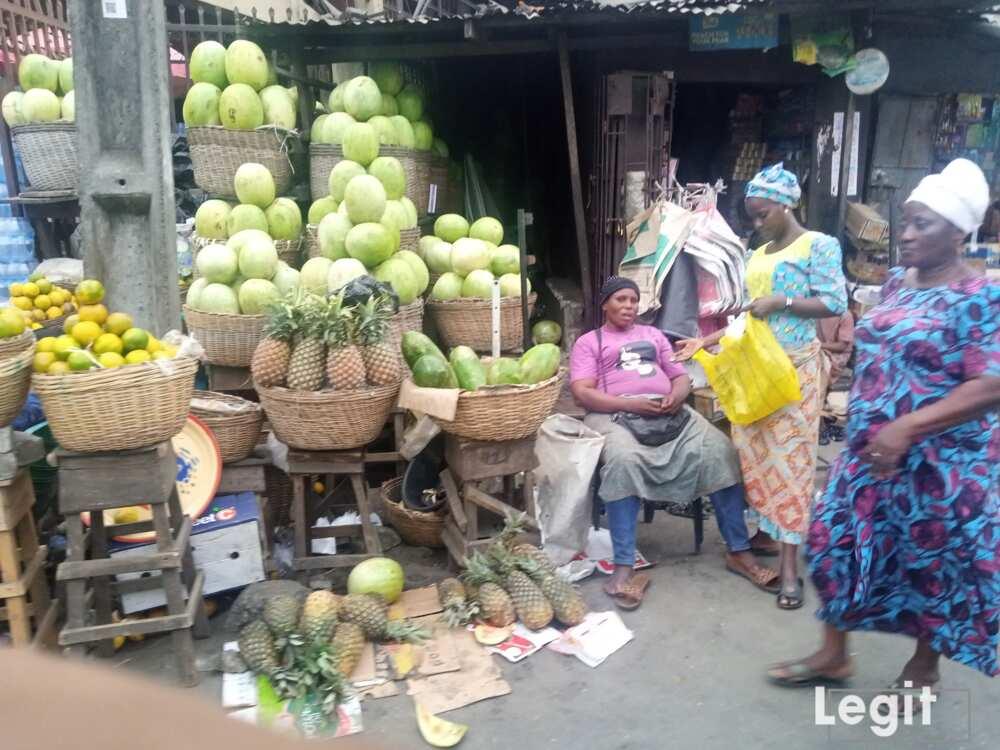 Pineapple and watermelon on display at Oyingbo market, Oyingbo, Lagos. Photo credit: Esther Odili