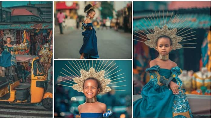 Beautiful photos of little girl posing atop a tricycle amazes Nigerians, many say she looks like Beyonce