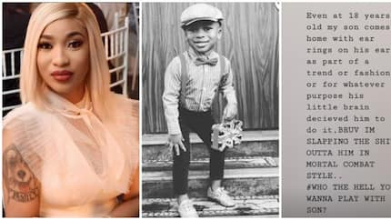 Actress Tonto Dikeh shows her strict parenting style, says she would slap her son if he comes home with piercings