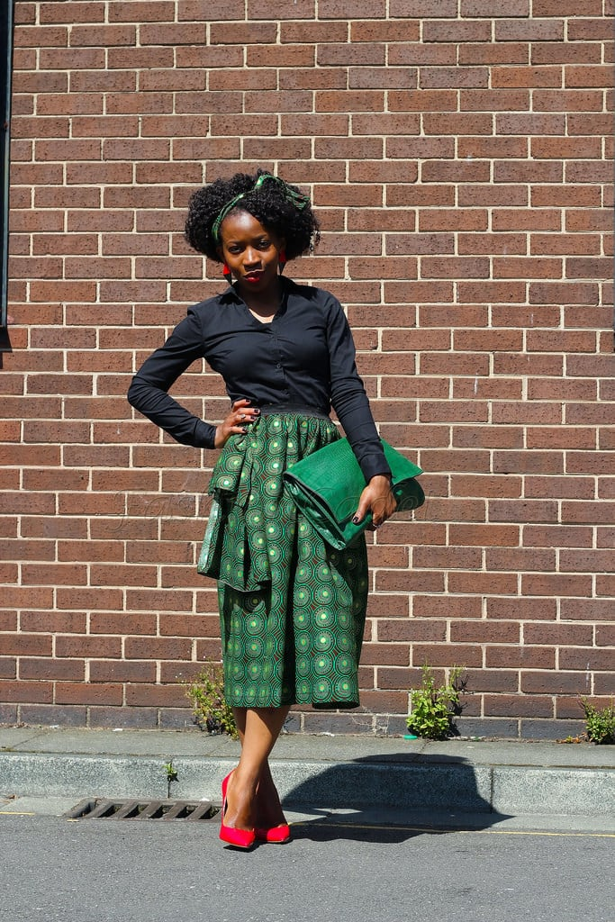 green ankara office skirt