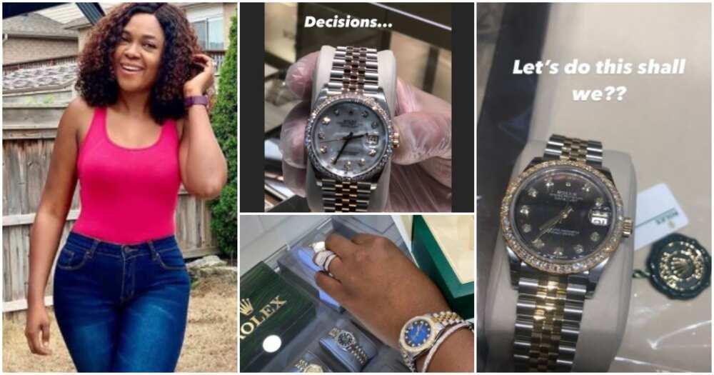 Actress Omoni Oboli goes jewellery shopping, buys Rolex wristwatch (photos)