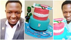 Talented man showcases beautiful teeth cake he baked for a dentist, the dentition looks so real