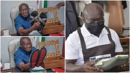 Nigerian governor who learned shoemaking while in office finally displays sandals made by him, shares photos