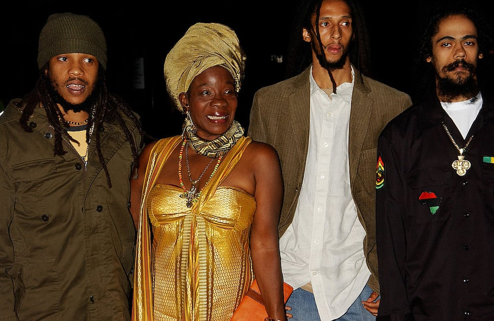 """The late Bob Marley's widow and sons, Stephen Marley, Rita Marley, Julian Marley and Damian """"Jr. Gong"""" Marley at the Royal Albert Hall on September 22, 2005 in London, England. (Photo by Dave M. Benett/Getty Images)"""