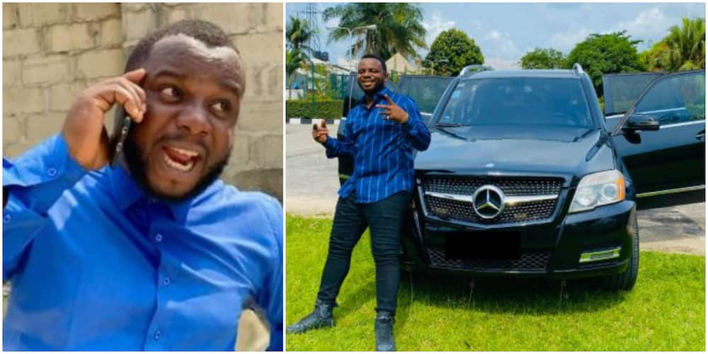 Surprise as Comedian Mr Funny Aka Sabinus Known for Poverty-Themed Skits Buys New Benz