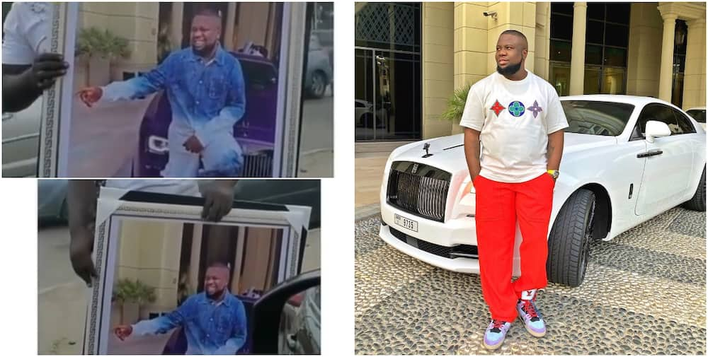 Nigerian man makes hushpuppi a legend as he sells his portrait in traffic