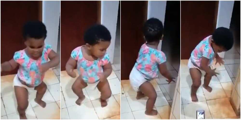 Baby in diaper shows amazing dancing skills