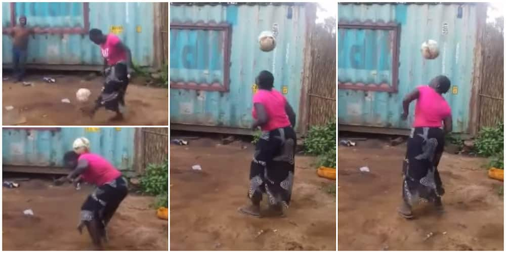 Woman in Wrapper Shows Impressive Football Skills, Juggles Ball with Her Legs, Head and Shoulder Non-Stop