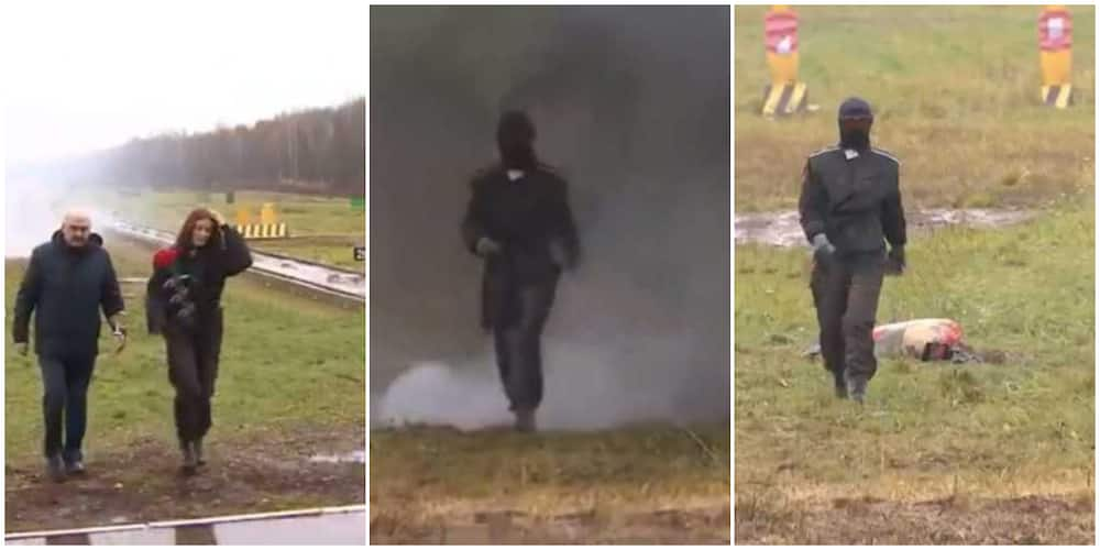 Stunning video as Russia test-runs the suit it invented that can withstand bomb explosions