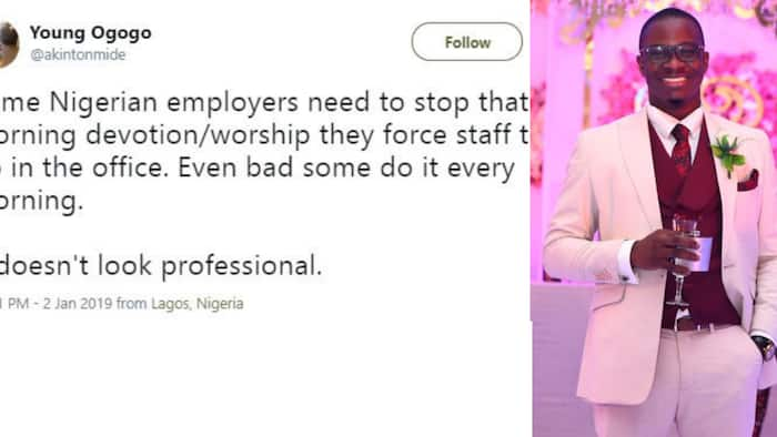 Young man demands that employers stop morning devotion done at work, Nigerians react