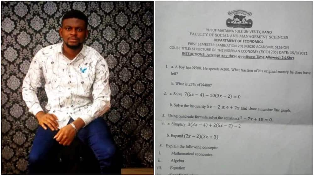 Nigerian man shares university question paper, says it's easier to bags 1st class in north
