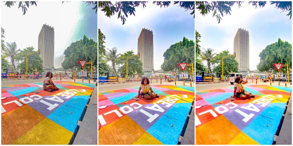 Young Lady Turns Lagos Floor Space into Magnificent Painting, Photos of Her Artwork Wows Many Nigerians