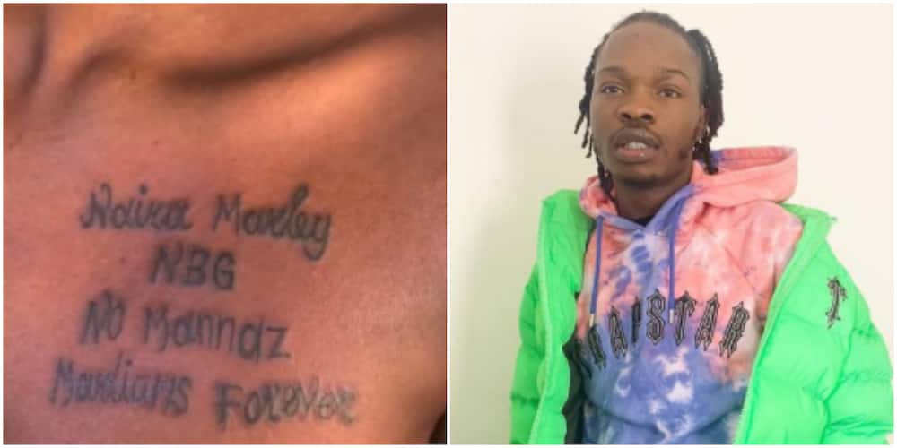 Naira Marley rendered speechless again as die-hard female fan tattoos his name on her chest