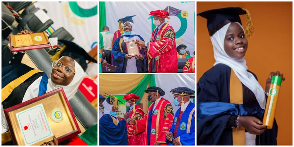 Joy as young Nigerian lady graduates as the best student in her faculty, shares moment with Osun state governor