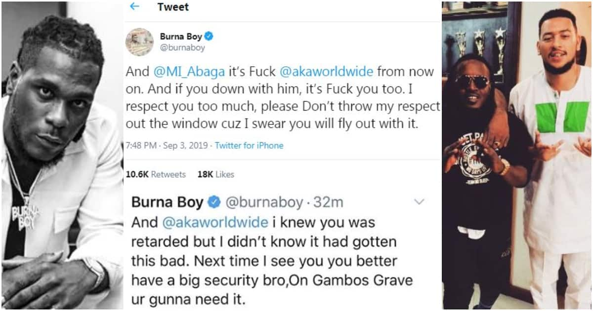 Xenophobia: Burna Boy Blows Hot, Slams SA Rapper AKA And MI