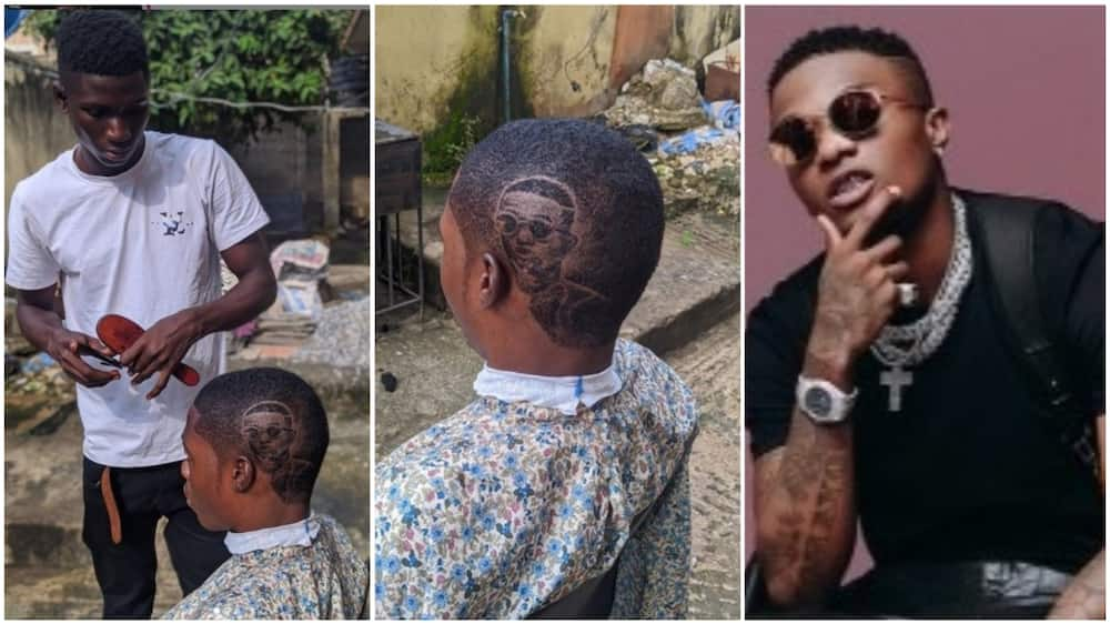 After the barber showcased his work, he tagged the musician so he can acknowledge the art. Photo source: Instagram/Adeyinka