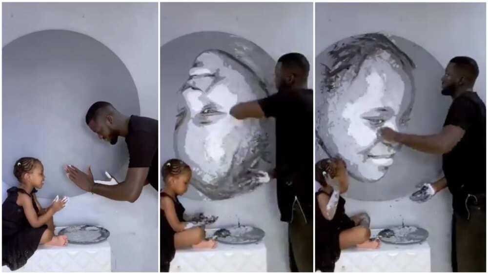 Bou Bou makes a masterpiece without a paintbrush. Photo source: Twitter/Bou Bou