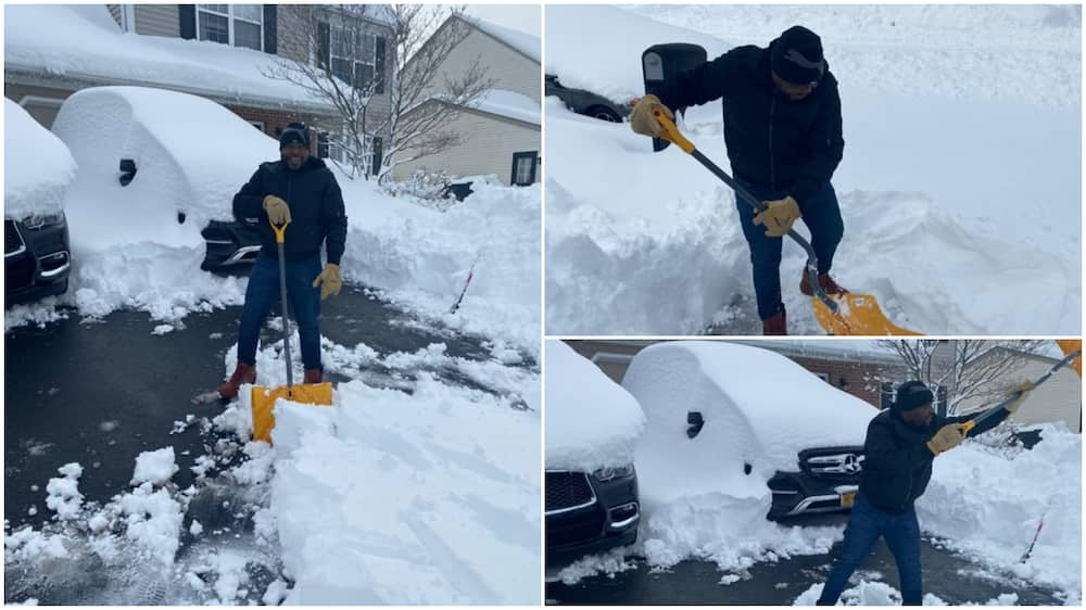 Nigerian man digs himself out of snow in America, complains of body ache, shares photos
