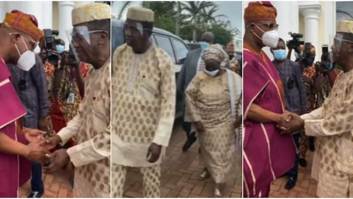 Video shows Governor Dapo Abiodun bowing for Pastor Adeboye who visits him after losing his dad